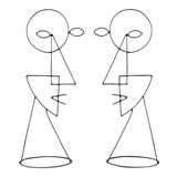 Image of Large Abstract Cubist Picasso Metal Steel Wire Face Sculpture - a Pair For Sale