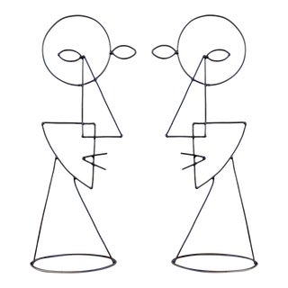 Large Abstract Cubist Picasso Metal Steel Wire Face Sculpture - a Pair For Sale