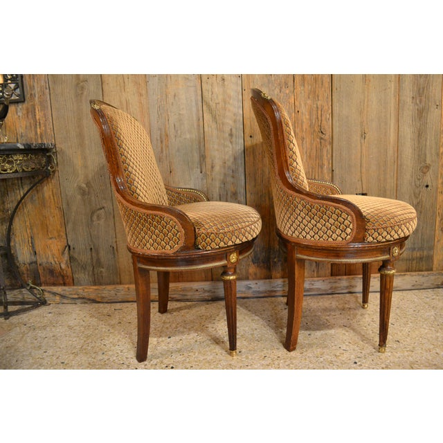 Pair of Antique French Louis XVI Occasional Chairs circa 1880 For Sale In New Orleans - Image 6 of 8
