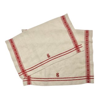 1950s Vintage Belgian Flax Linen Monogrammed Red and White Towels - A Pair For Sale