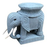 Image of Vintage Wicker Elephant Plant Stand or Side Table For Sale
