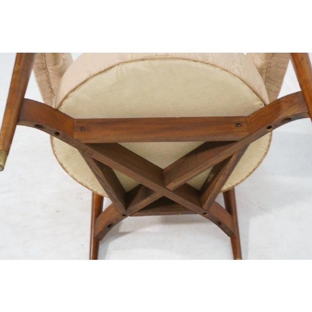 Floating Back Sculptural Modernist Barrel Back Lounge Chair in Tan Moire Fabric Upholstery For Sale In Los Angeles - Image 6 of 11