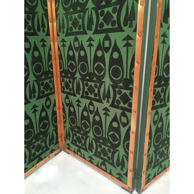 Green Hand Block Printed Black and Green Fabric Four Panel Screen For Sale - Image 8 of 11