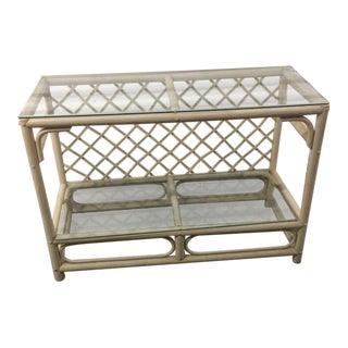 Ficks Reed Vintage Trellis Back Rattan Glass Console Table