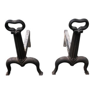 Antique Black Andirons - a Pair