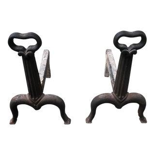 Antique Black Andirons - a Pair For Sale