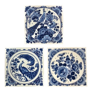 Delft Blauw Hand-Painted Peacock and Floral Dutch Tiles - Set of 3 For Sale