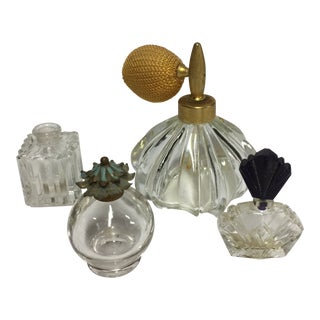 1920s Art Deco Atomizer Perfume Bottles - Set of 4 For Sale