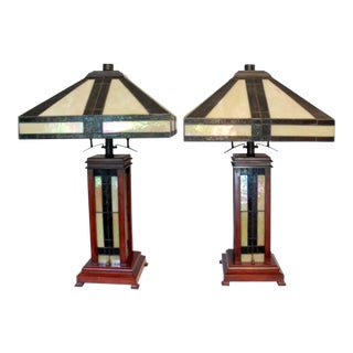 Mission Style Stained Glass Table Lamps - a Pair