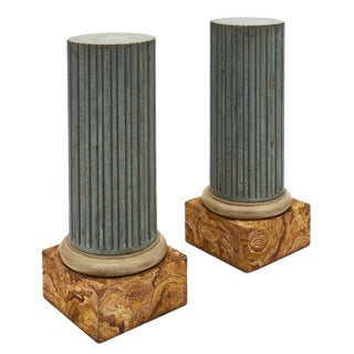 French Antique Louis XVI Painted Columns - a Pair For Sale