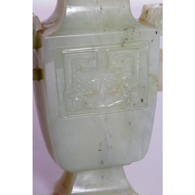 Late 19th / Early 20th Century Pale Celadon Jade Vase & Cover, China, Qing Dynasty For Sale - Image 11 of 13
