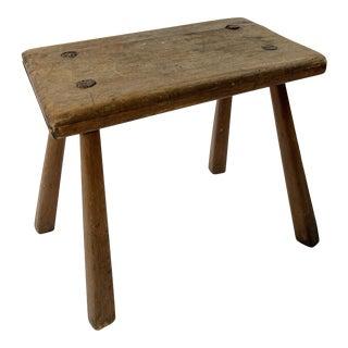Vintage Primitive Four Leg Rectangular Rustic Wood Stool For Sale