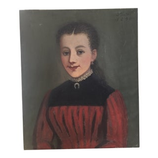 "1890 French Portrait of Girl ""La Petite Bourgeoisie"" Painting"