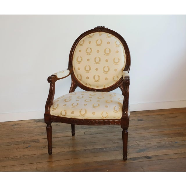 Mid 20th Century Louis XVI Fauteuil For Sale - Image 9 of 9
