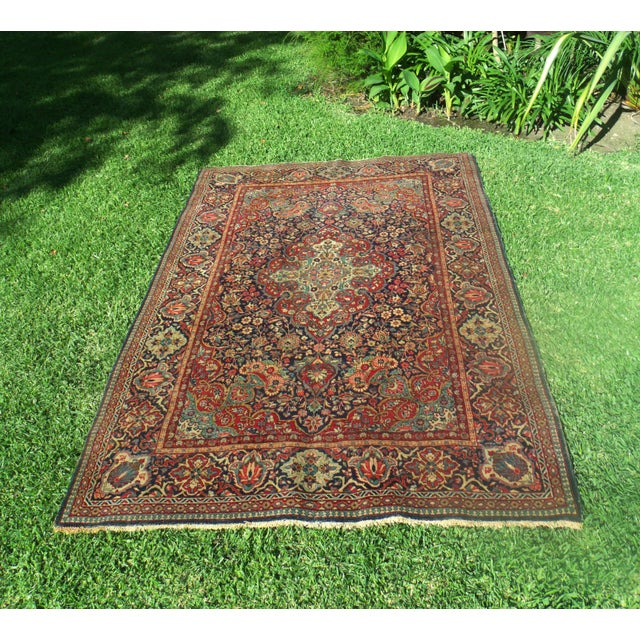 Antique Persian Oriental Handwoven Rug - 4'5'' X 6'6'' For Sale - Image 9 of 11