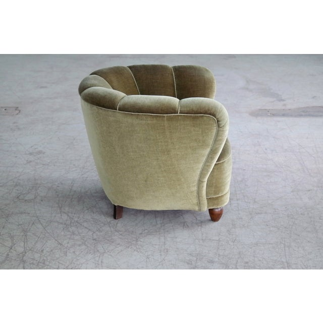 Wood Danish 1940s Viggo Boesen Style Club Chair in Beech and Mohair For Sale - Image 7 of 10
