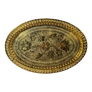 Mid-Century Modern Oval Floral Indian Brass Etched Serving Tray For Sale