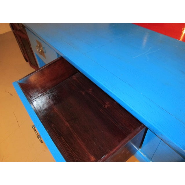 Chinoiserie Blue Lacquered Desk/Console Table For Sale - Image 4 of 7