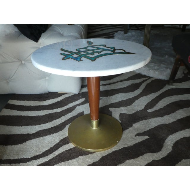 Metal Rare Mid-Century Pepe Mendoza Marble Top Side Table For Sale - Image 7 of 13