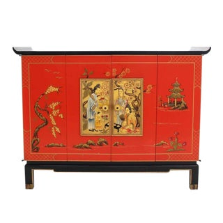 Black Lacquer Two-Tone Cabinet Bachelor Chest For Sale