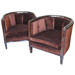 Velvet Upholstered Tub Chairs - A Pair