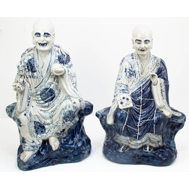 Chinese Blue and White Porcelain Seated Immortals - a Pair For Sale - Image 10 of 10