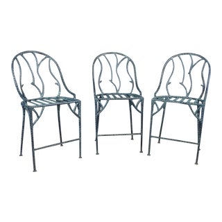 Late 20th Century Wrought Iron Branch Form Counter Barstools - Set of 3 For Sale