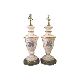 Enameled Flora Satin Glass Lamps-A Pair For Sale