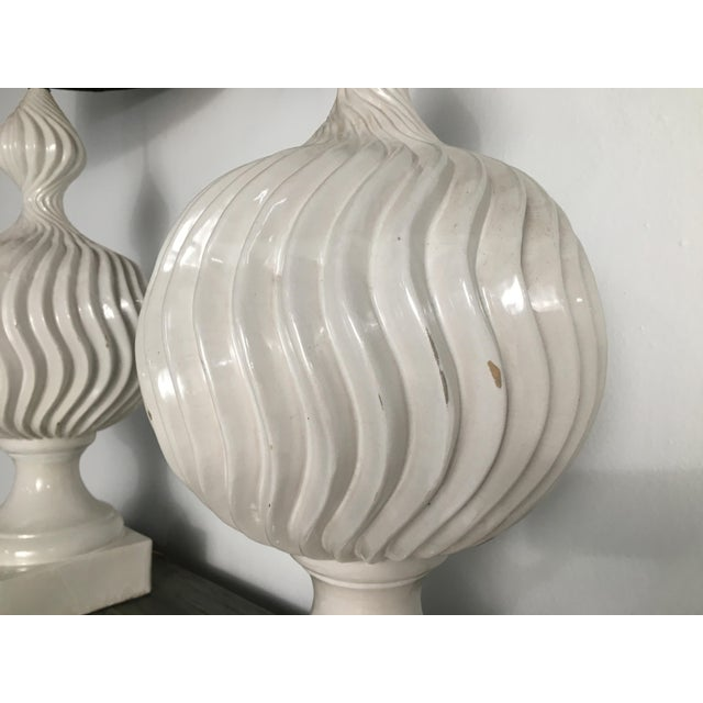 Monumental Ceramic Double Gourd Lamps with Shades - a Pair For Sale - Image 10 of 12