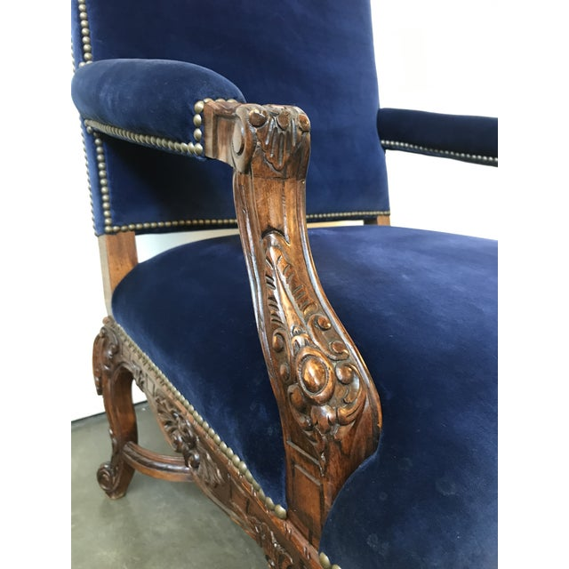 Ralph Lauren Home Carved Provence Chair in Velvet For Sale In Raleigh - Image 6 of 11