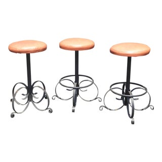 Set of Three Vintage Spanish Style Orange Iron Bar Stools ~ Mid Century Modern For Sale