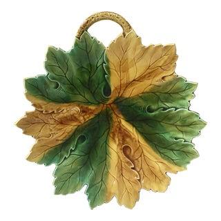 1900s Majolica Leaf Platter For Sale