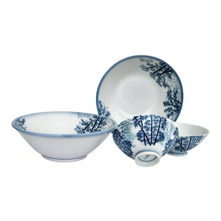 Mikawachi Blue White Ramen and Tea Bowls - Set of 4 For Sale