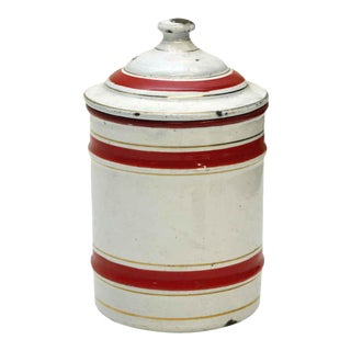 Small Red & White Chicoree Kitchen Jar For Sale