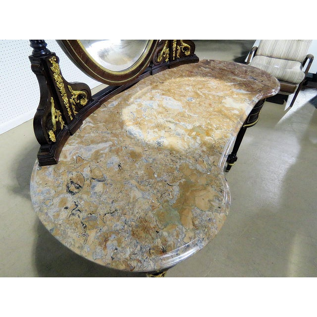 Gold Regency Style Marble Top Vanity With Mirror For Sale - Image 8 of 11