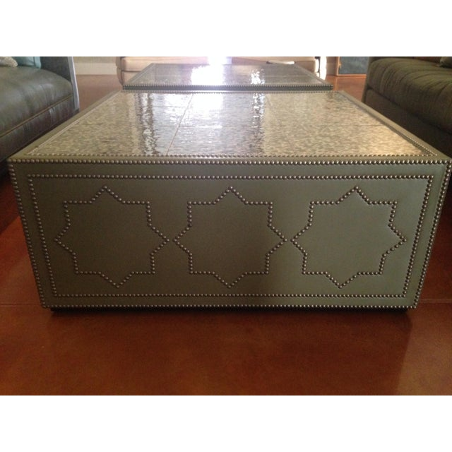 Frank Roop Designed Leather & Mother of Pearl Coffee Table - Image 4 of 6