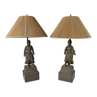 18th Century Vintage Japanese Carved Warriors Mounted Lamps- A Pair For Sale
