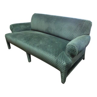 Donghia Loveseat Sofa Upholstered in Rose Cumming Dark Green Diamond Cut Velvet For Sale