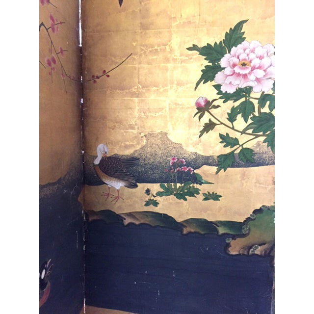 Mid 18th Century 18th Century Antique Japanese Gold Leaf Screen with Blossoms and Birds For Sale - Image 5 of 10