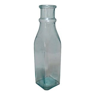 Tall Antique Victorian Era Aquamarine Glass Pickle Jar For Sale