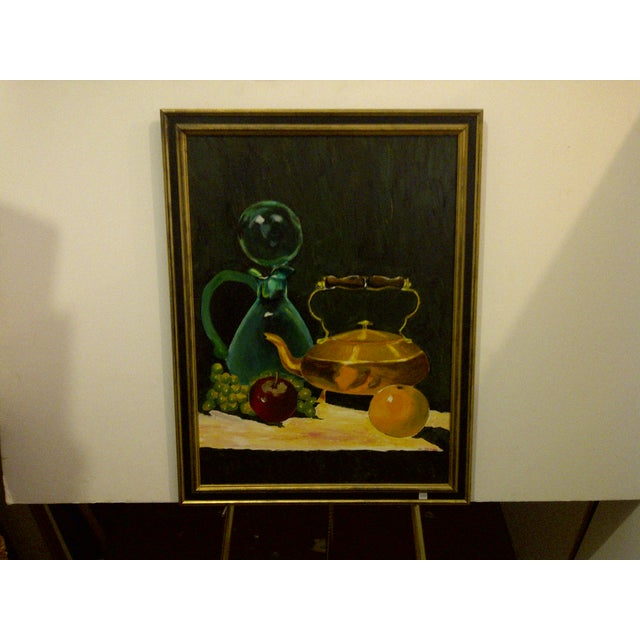 """Original painting titled """"Tea Kettle"""". By John Michael. Circa 1972. Framed. No glass. Ready for display. The painting is..."""