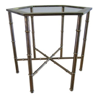 1970s Hollywood Regency Mastercraft Brass Hexagon Cocktail Side Coffee Table For Sale