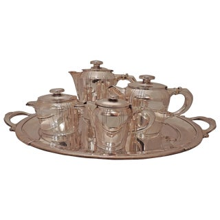 French Art Deco Silver Tea and Coffee Set For Sale