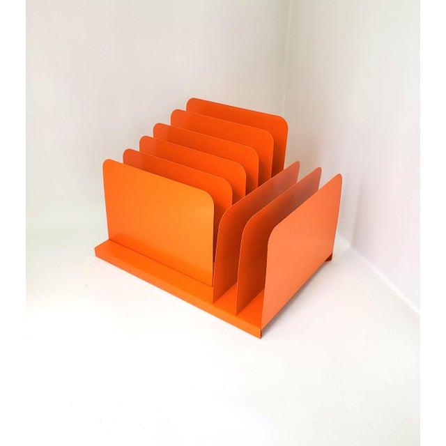 1960s Tanker Desk Record Album Office Organizer Magazine Rack Orange Mail Sorter For Sale - Image 10 of 10