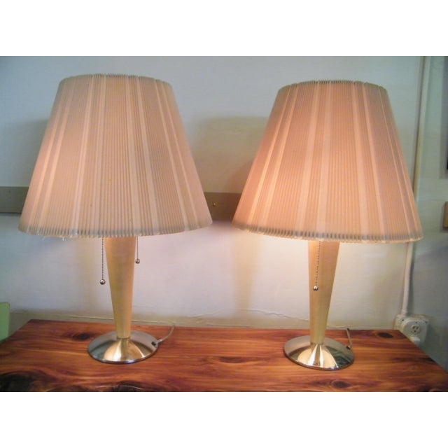 Mid-Century Modern Wood Lamps - A Pair - Image 3 of 6