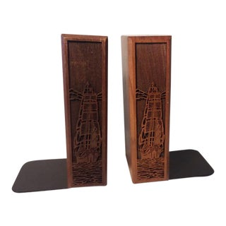 1970s Mid-Century Modern Carved Walnut Ship Bookends - a Pair