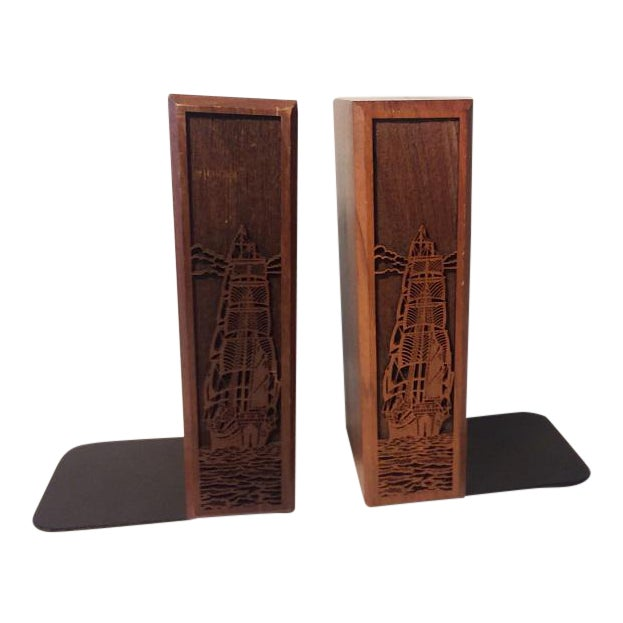 1970s Mid-Century Modern Carved Walnut Ship Bookends - a Pair For Sale