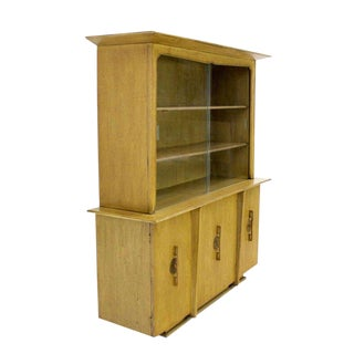 1960s Mid Century Modern Oriental Mahogany China Cabinet For Sale