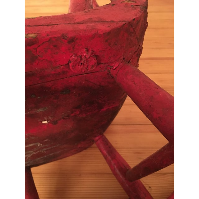 Wood Early 19th Century Child's Rustic Red Wooden Rocking Chair For Sale - Image 7 of 10