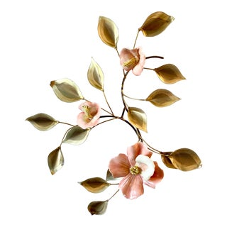 Vintage Brass and Ceramic Floral Wall Decor For Sale